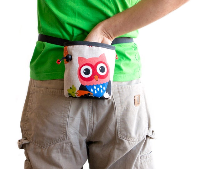 Owl Chalk Bag. Cool Chalk Bag - Rock Climbing. Handmade Chalk bag, OOAK in Chalk Bags, L Size