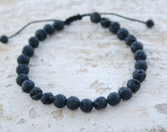 Lava Bracelet, Men Bead Bracelet, Men Healing Bracelet, Zen Bracelet, Men Gift, For Him, Birthday Gift, Black Lava 6mm, Calm / Grounding