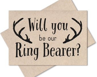 Will you be my ring bearer gift, rustic wedding, groomsman card ask bestman invite card wedding ring bearer note recycled