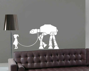 Star Wars A Girl and Her At - At Walker Decal For Living Room Kids Room Sticker Boy With At At On Leash Sticker Star Wars Wall Decal