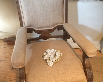 Carved Victorian Open Armchair
