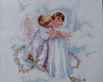 Angel Kisses Completed Cross Stitch Art