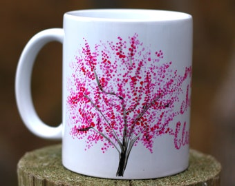 Cherry Blossom Mug- Handpainted Mug- Spring Wedding Gift- Coffee Lover Gift- Valentines Day Mug- Mug Gift For Her- Spring Birthday Gift