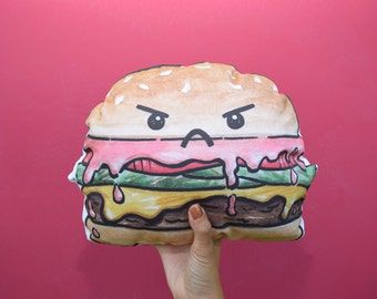 Angry Burger Pillow/ Colorful Stuffed Animal Burger Plush Doll Cushion Toy