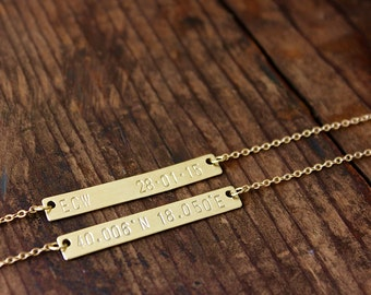 Hand Stamped Gold Bar Necklace / Bridesmaids Necklaces / Personalized Necklace / Gold Toned Brass / Best Friend Jewelry / Personalized Bar