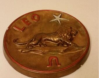 "vintage leo lion zodiac 10.5"" round wall hanging plaster chalkware plaque - horoscope 1970 era - retro decor antique bronze home astrology"