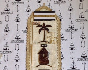 File it Under Philippines~Letter Holder~Wall Hanging~Woven~Carved Wood~Palm Tree
