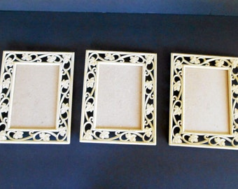 3  Shabby Chic Frames,5 x7 Vine Frames,White Metal Frames,Ornate White Frames,White Gold frames,Cottage Chic Decor,Mixed Media,Altered Art