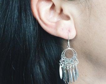 Sterling silver native style earrings, Ethnic earrings, Wind catcher earrings, sterling silver earrings, Native earrings (ER55)