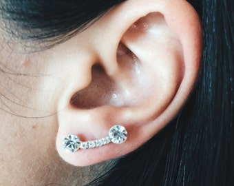 Sterling silver with cubic zirconia double ball ear studs, Middle hole ear studs, Cubic zirconia ear studs (ES199)