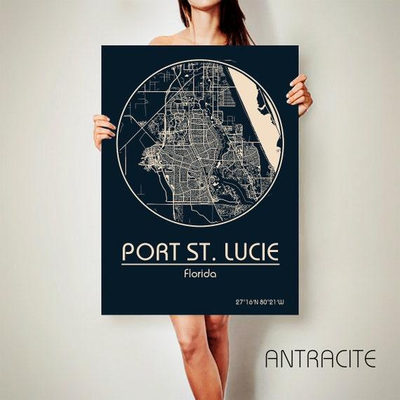 Port st lucie florida canvas map port st lucie florida T shirt printing port saint lucie fl