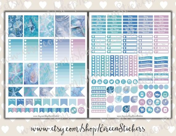 MAMBI Happy Planner Printable Stickers, Under the Sea planner stickers ...