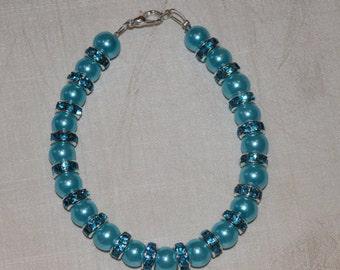Aquamarine czech glass pearl Bracelet