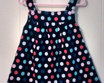 18 months little Girl's jumper, polka dots, navy dress, girls clothes, girl's dress,