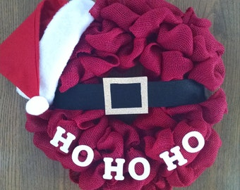Ho Ho Ho. Santa wreath. Ho Ho Ho wreath. Christmas wreath. Santa claus wreath