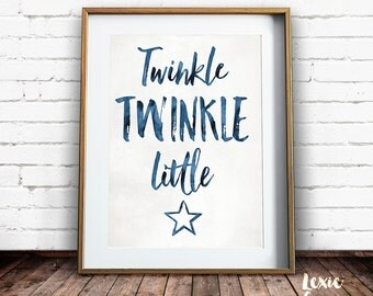 Twinkle Twinkle Little Star, Nursery Art, Twinkle Twinkle Little Star Print, Childrens Art, Star Print, Printable Wall Art, Instant Download