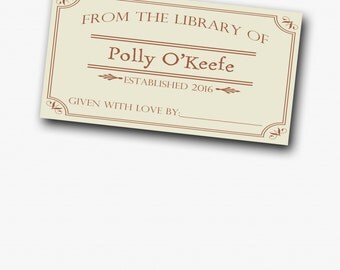 Bookplate Stickers - Library Baby Shower - From the Library of - Bookplate tag - baby shower detail - book baby shower - set of 10/page
