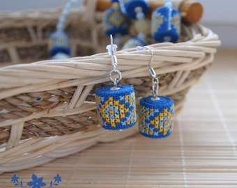 Gift for her gifts for girl blue earrings dangle earrings bright earrings summer jewelry fabric earrings ethnic jewelry embroidered jewelry