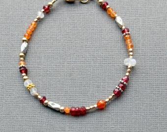 Garnet Moonstone Carnelian Bracelet, January Birthstone, Boho Chic Beaded Bracelet, Mixed Metals, Sundance Style Bracelet, Fall Colors