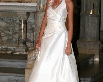 wedding dress with halterneck and train