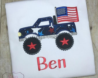 Fourth of July Shirt// Boys July 4th Shirt// American Flag// Monster Truck Flag// 4th of July// Embroidered Child Shirt// Personalized
