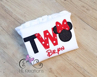 Minnie Mouse Birthday Shirt- TWO Minnie Mouse Birthday Shirt- Second Birthday Shirt for Girls- Classic Minnie Mouse Shirt