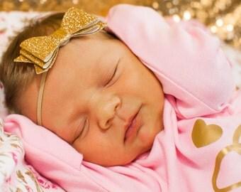 Gold Glitter Newborn headband, newborn glitter headband, newborn glitter bow headband, photo prop headband, elegant bow headband, girl bow