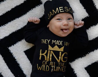 Black and gold Personalized newborn boy hat...newborn baby boy hat...newborn hat...new baby hat..newborn boy beanie