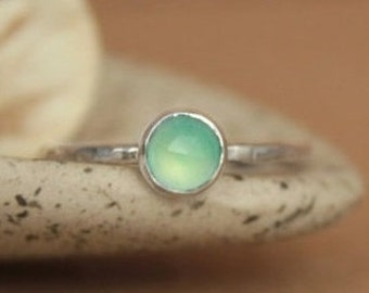 Size 8 - Delicate Aqua Chalcedony Stacking Ring In Sterling - Silver Rose Cut Gemstone Promise Ring - Gift For Her - Ready To Ship