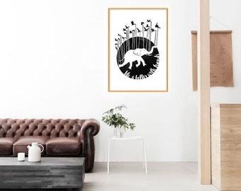 Life is better with friends, primavera, imprimible, arte para pared, Poster, tipografía, motivacional, Elefante y pájaros