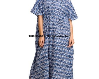Floral Printed Kaftan in Blue and White, Tunic, Beach Cover Up, Long Dress, Maxi, Plus Size Gown, Indian Cotton Caftan Handmade Indian Dress