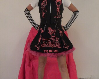 Lolita Cosplay Jacket Cropped Silk-Screen Reversible Bolero Original Silk-Screen Pin Up Girl Pit Bull Greyhound Made To Order