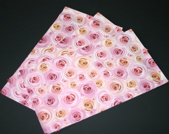 100 NEW 6x9 Designer Poly Mailers Roses Pink Peach Flowers Self Sealing Envelopes Shipping Bags