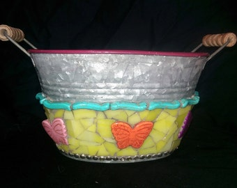 Spring Butterfly Mosaic Tin Bucket