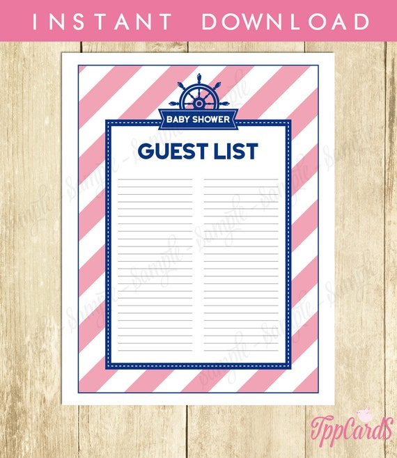 Nautical Baby Shower Guest List Sailor Baby Shower List Baby