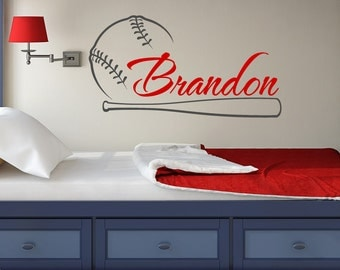 Baseball Name Wall Decal Boy Personalized Decals Sports