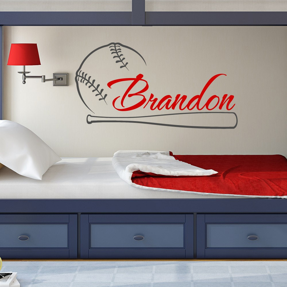 baseball name wall decal boy baseball personalized decal boy. Black Bedroom Furniture Sets. Home Design Ideas