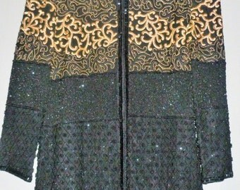 Vintage 1980's Heavily Beaded / Sequins / Embroidered Silk Jacket UK 10 - 12