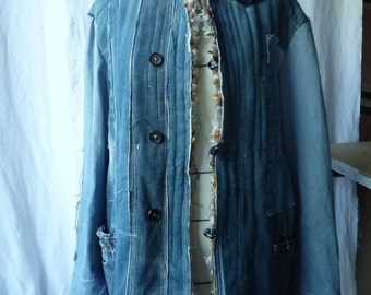 work recycled jean jacket stuffed wool