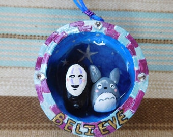 No Face and Totoro Bottlecap Necklace