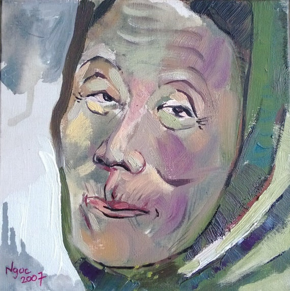 "HOODED LADY 8x8"" original oil on canvas, live painting, Vietnam village scene, original by Nguyen Ly Phuong Ngoc"