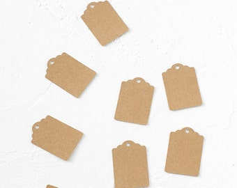 24 Kraft Paper Tags-Gift Enclosure-Wrapping Idea-Scrapbooking-Decoration-Place Name-Scalloped-Wedding-Vintage-Gift-Blank Tags-Rustic Tags