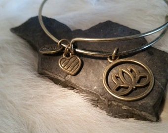 Bronze Lotus Flower Bangle: Expandable Stacking Bangle- Boho Bronze Bangle Bracelet- Gift for Her