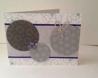 Handmade Greeting Card - Circles and Flowers
