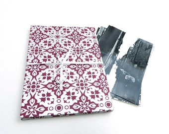 Leporello photo album 10 x 15 with silver patterns, for weddings, anniversaries, special occasions