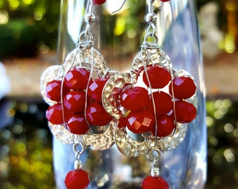 Sale!Red earrings, hammered Sterling silver earrings, texture, shiny, big, elegant, holiday style