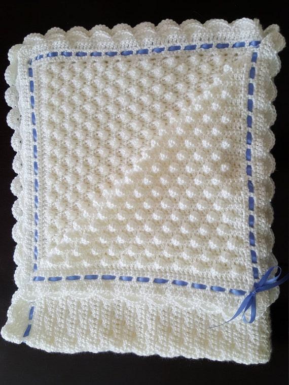 Homemade Crocheted Popcorn stitch Baby Blanket
