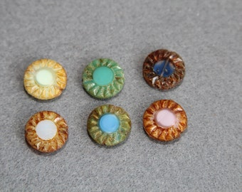 Picasso Finish Czech Glass 14mm Wheel Sunflower Bead, Table Cut Brown Teal Beads, Blue White Gear, DIY Crafts