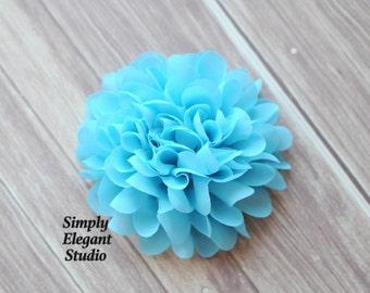 "Blue Large Chiffon Flowers, 4"" Fabric Flowers, Baby Headband Flowers, Craft Supply Flower"