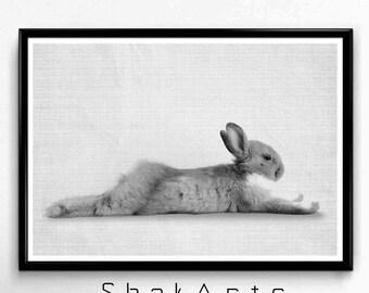 Nursery Rabbit Print, Woodland Nursery Decor, Rabbit Printable Art, Modern Farmhouse Wall Decor, Rustic Gallery Wall, Bunny Wall Art Print